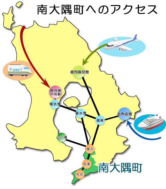 南大隅町へのアクセスイメージ図